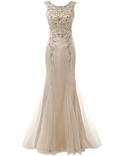 Le Bal De Perles Décolleté Féminin Solovedress Robe Longue Robe De Soirée Avec Champagne Robe De Cristal