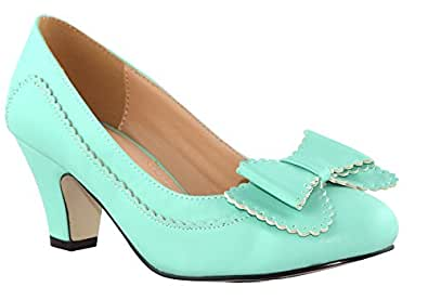 Chase and Chloe Vintage Inspired Mod Scalloped Edge Bow Pump Heel-Mint-6