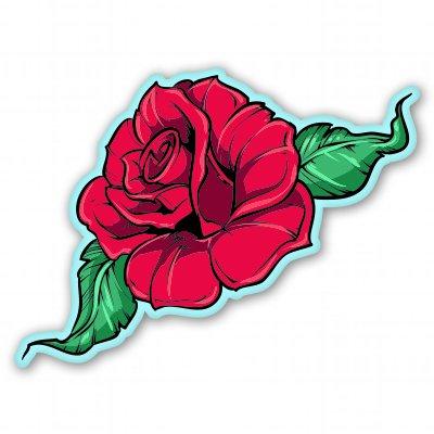 Rose Red Vinyl Sticker - Car Phone Helmet - SELECT SIZE