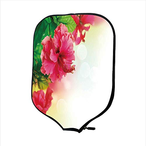 iPrint Neoprene Pickleball Paddle Racket Cover Case,Floral,Hibiscus Flower Florets Buds Leaf Essence Fragrance Blossoms Garden Image,Hot Pink Fern Green,Fit for Most Rackets - Protect Your Paddle (Garden Wood Fern)
