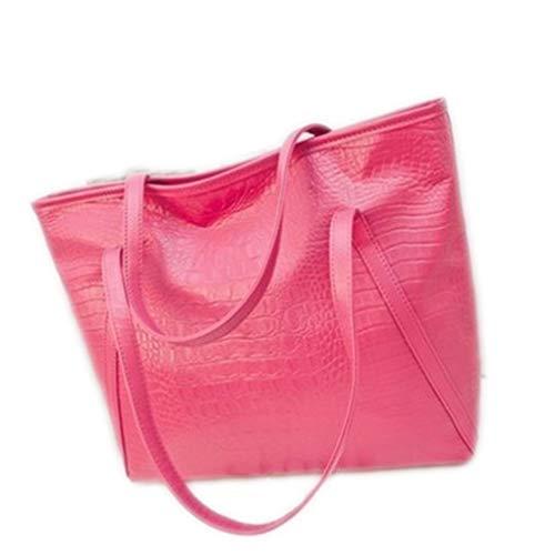 WEYIIRG Fashion Casual Glossy Alligator Totes Large Capacity Ladies Simple Shopping Handbag PU Leather Shoulder Bags Hot Pink 39cmx16cmx31cm