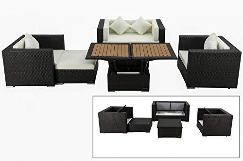 OUTFLEXX Lounge-Set aus hochwertigem Poly-Rattan in braun, 2-Sitzersofa, 2 Sessel, 1 Hocker, höhenverstellbarer Tisch, inkl. bequemen Kissenpolster, für 5 Personen, Kissenboxfunktion, wetterfest