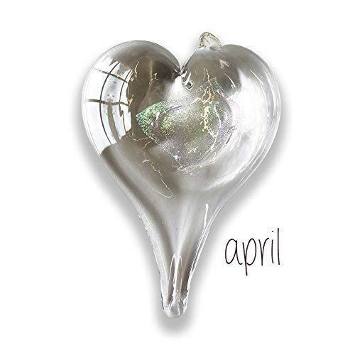 (Luke Adams Glass Small Heart April Birthstone)