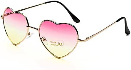 Dollger Heart Sunglasses Thin Metal Frame Lovely Aviator Style for Women