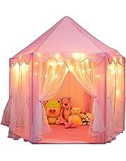 خيمة لعب للاطفال للاماكن المغلقة والخارجية، خيمة سداسية بتصميم قلعة الاميرة للاطفال، زهري