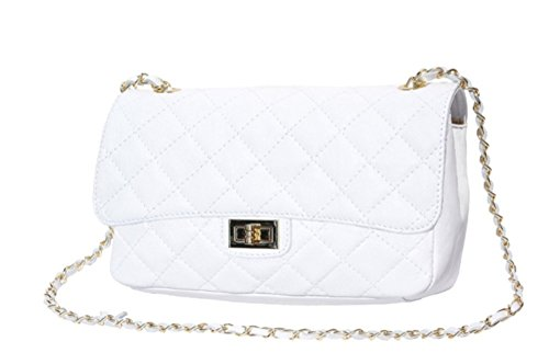 Classic Women's Parigi Italian Leather In Genuine Italy Made Model White Quilted Handbag Superflybags 6a18xRa