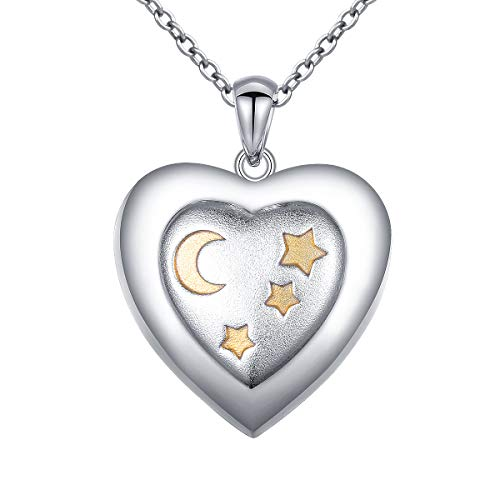 (S925 Sterling Silver Heart Urn Memorial Ashes Keepsake Exquisite Cremation Stars Moon Pendant Necklace)