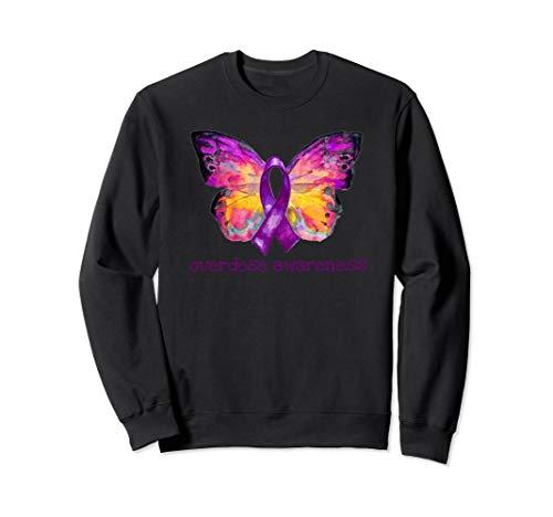 Overdose Awareness Purple Ribbon Butterfly Grief Loss Gift Sweatshirt