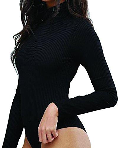Mangopop Women' Turtle Neck Long Sleeve Ribbed Bodysuit Jumpsuits (Black, Small) (Turtleneck Bodysuit)