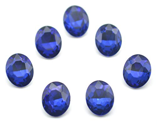 10 Mm Faceted Beads - Catotrem Oval Rhinestone Glass Faceted Round Diamond Silver Pointback Beads for Charm Jewelry 8X10mm 60pcs(Blue)