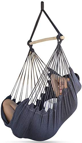 Sorbus Hammock Chair for Bedroom Indoor or Outdoor – Extra Long Swing Seat – Quality Cotton for Superior Comfort Durability – Swinging Chairs for Yard, Porch Spaces