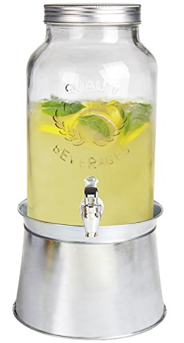 Estilo Glass Mason Jar Beverage Drink Dispenser With Ice Bucket Stand And Leak Free Spigot, 1.5 Gallon