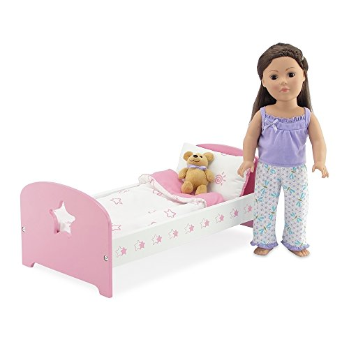 Furniture Adorable (18 Inch Doll Bed Furniture Clothes | Sleeping Value Bundle Includes Pink and White Single Bed with Reversible Bedding and Adorable Dragonfly Print 2 Piece Pajama PJ Outfit with Teddy Bear | Fits 18