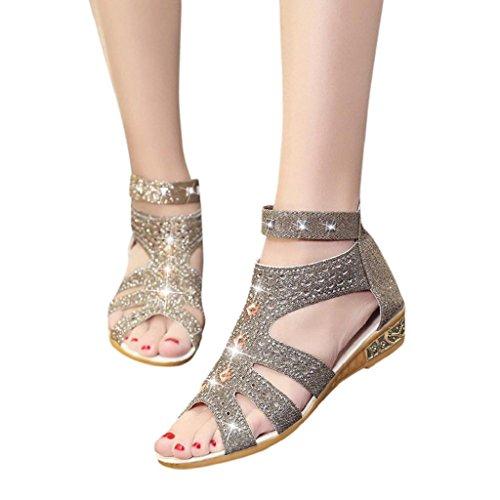 HGWXX7 Sandals,Women Fashion Fish Rhinestone Mouth Hollow Zipper Wedge Roma Shoe(US-5.5/CN-38,H-Gold)