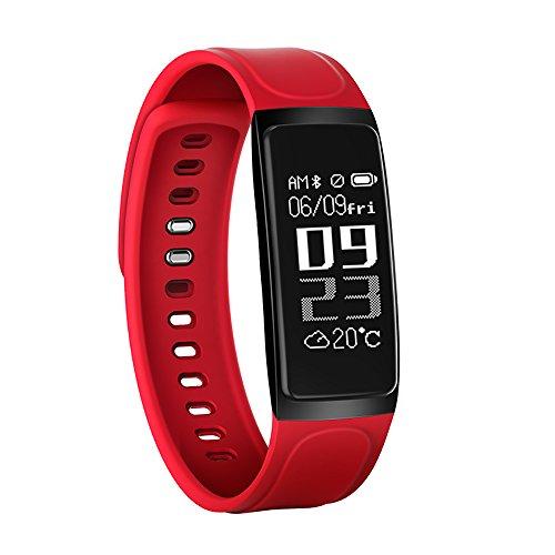 Bluetooth Blood Pressure Smart Watchintelligent Hand Ring Waterproof Reloj Inteligente Pulsometro Ritmo Cardiaco(Red)