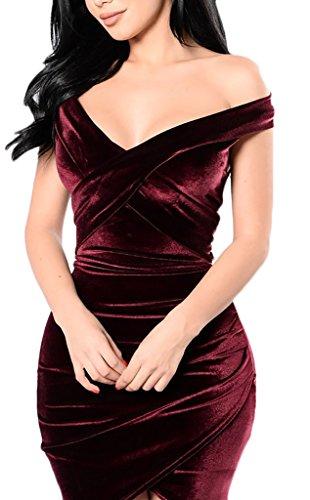 Damen Festkleid Kleid Wickelkleider V Neck Rückenfrei Schulterfrei Coral-Fleece Paket Hüfte Herbst Kreuz Einfarbig Elegant