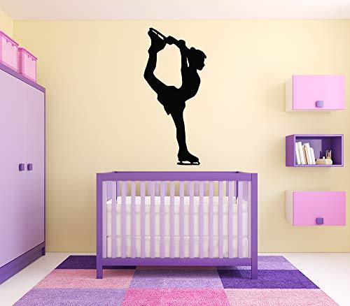 Vinyl Sticker Ice Skater Ice Skating Gymnastics Girls Poster Sport Ballet Dancer Silhouette Dance Mural Decal Wall Art Decor SA2122