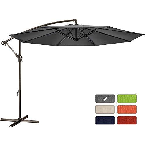 Patio Umbrella 10 ft Cantilever Offset Umbrella Outdoor Market Hanging Umbrellas Garden Umbrella  Crank with Cross Base, 8 Ribs (10 FT, Dark Gray)