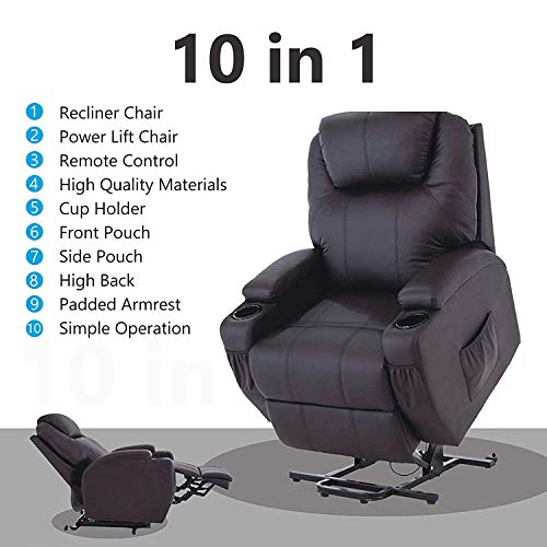 Mecor Lift Chairs for Elderly,Power Lift Recliner, Bonded Leather Lifting Sofa Chair with Remote Control,Reinforced Heavy Duty Reclining Mechanism Stand Up Recliner Chair for Living Room(Brown)