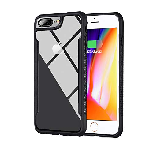 Amaspace Ultra Hybrid iPhone 8 Case and iPhone 7 Case, Clear Hybrid Case,Thin Tempered Glass Back Cover and Soft TPU Bumper Frame,Shock-Absorption Bumper Cover, Anti-Scratch HD Clear Back-Black