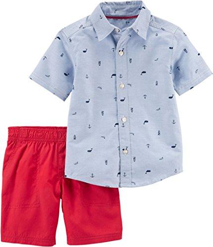 2 Piece Schiffli Button-Front and Poplin Shorts Set 9 Months (Poplin Oxfords)