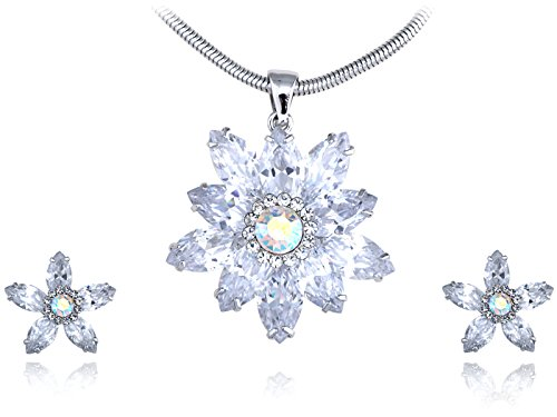 (Alilang Clear Sharpened Snowflake Chill Swarovski Crystal Element Earring Necklace Set)