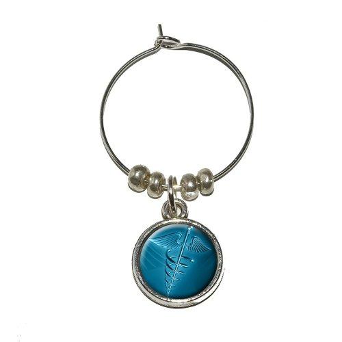 Medical Caduceus Symbol - EMT RN MD Wine Glass Charm Drink Stem Marker Ring (Md Caduceus Charm)