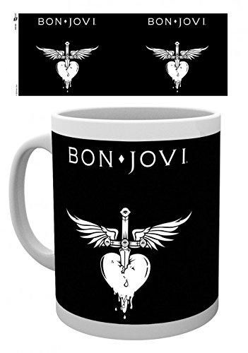 Set: Bon Jovi, Logo Photo Coffee Mug (4x3 inches) And 1x 1art1 Surprise Sticker -