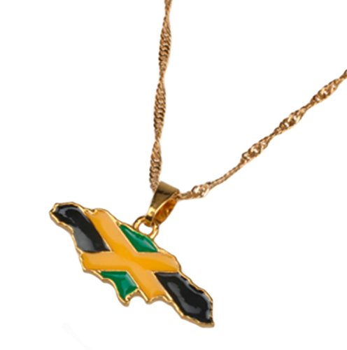 AccessCube Unisex Country Map Flag Pendant Necklace Gold Silver Color Charm Maps Jewelry (Jamaica 2 / Gold)