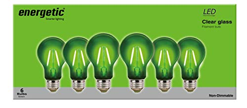 - Energetic LED Color Filament Light Bulbs, 2W, Green, A19 Shape, E26 Base, UL Listed, 6-Count