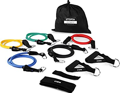 Resistance Band 5 Set for Home, Gym and Outdoor Workouts with Door Anchor, Ankle Strap & Mesh Carrier - Athletic and Handy - by Utopia Fitness from Utopia Fitness