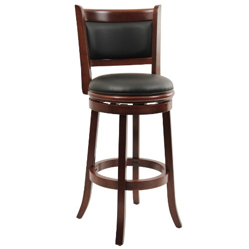 Back Wood Seat Stool (Boraam 49829 Augusta Bar Height Swivel Stool, 29-Inch, Cherry)