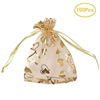 SumDirect 100Pcs 3.5x4.7 Inches Sheer Drawstring Heart Organza Jewelry Pouches Wedding Party Christmas Favor Gift Bags (Gold)