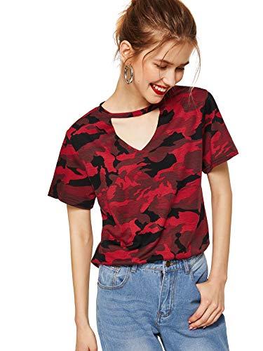 Red Camouflage T-shirt - WDIRARA Women's Short Sleeve Camo Tee Shirt Striped Print Graphic Crop Top Red S