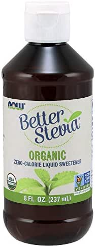 NOW Foods, Certified Organic BetterStevia Liquid, Zero-Calorie Liquid Sweetener, Low Glycemic Impact, Certified Non-GMO, 8-Ounce