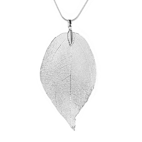Keliay Special Leaves Leaf Sweater Pendant Necklace Ladies Long Chain Jewelry Best for Gift (Silver)