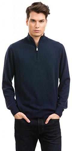 メンズ カシミヤ100% ハーフジップアップセーター Citizen Cashmere B00MFDMPJ4 L|ネイビー ネイビー L