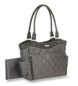 carter 39 s drop front quilted tote diaper bag grey baby. Black Bedroom Furniture Sets. Home Design Ideas