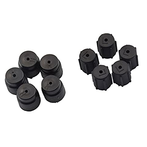 Dovewill 10 Pieces Car Air Conditioning High and Low Valve Service Caps, R134a,13mm 16mm, 5 high-pressure 5 - Air Conditioning Service Valves