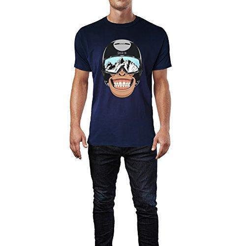 SINUS ART® Affenkopf mit Helm und Skibrille Herren T-Shirts in Navy Blau Fun Shirt mit tollen Aufdruck