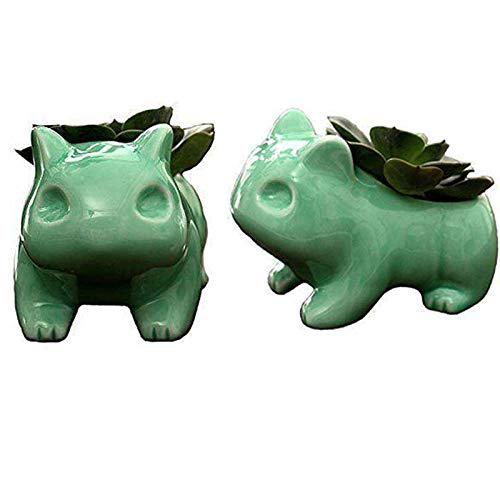 Gift Prod 2 Pcs Green Pokemon Bulbasaur Flowerpot Modern Cute Home Decorative Ceramic Art Pots Mini Flower Plant Containers Plant Window Boxes (Style 19)