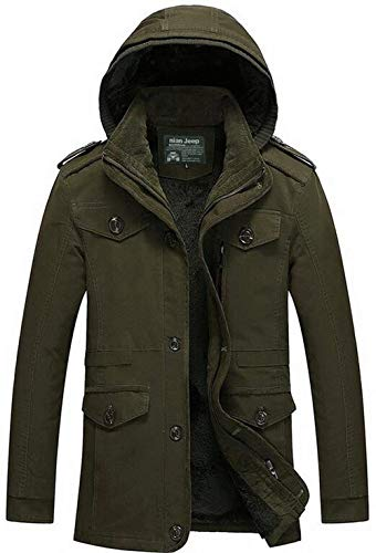 Grün Parka Cotton Jacket Leisure Coat Detachable City Men's Apparel Cashmere Hooded Thicker Winter Hooded qOxwHSR