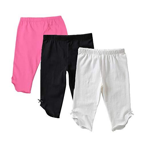 Kids Bron Toddler/Little Girls Capri Leggings Pants (Black/White/Pink, 6T/Little Girl) ()