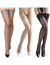 a7fe9bcba 3 Pairs ultra thin sheer thigh high rib top stockings Sexy Pantyhose