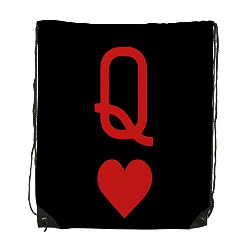 Queen Of Hearts Playing Card Logo Unisex Gym Drawstring Shoulder Bag Backpack Travel Bag Bags Backpack String Bags School Rucksack Gym Handbag