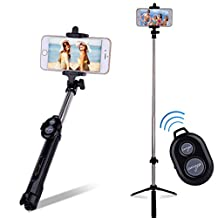 Artmark Bluetooth Wireless Selfie Stick With Mini Tripod ,Foldable Extendable Selfie Stick Monopod Remote Control Fits For iPhone 6s/6/6 Plus And More Smartphones(Black)