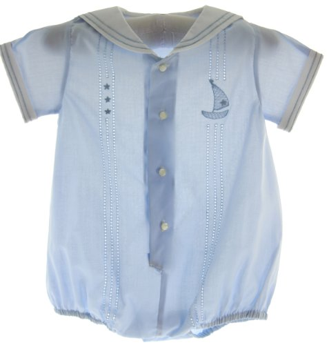 Baby Boys Blue Dressy Sailor Bubble Outfit Feltman Brothers (3M)