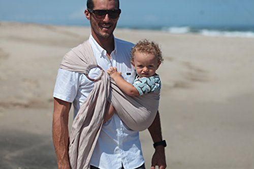 Luxury Ring Sling Baby Carrier – extra-soft bamboo and linen fabric - lightweight wrap - for newborns, infants and toddlers - perfect baby shower gift – great for new Dad too - nursing cover by Pura Vida Slings (Image #2)