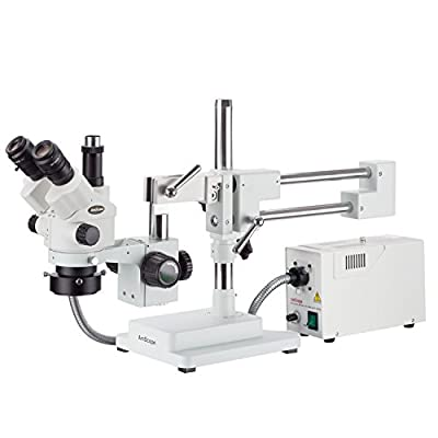 AmScope 7X-45X Simul-Focal Stereo Lockable Zoom Microscope with a Fiber Optic Ring Light