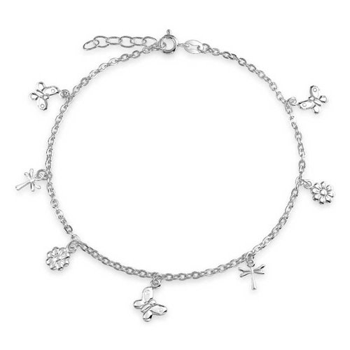 - Multi Butterfly Dragonfly Flower Anklet Dangle Charm Ankle Bracelet For Women 925 Sterling Silver Adjustable 9-10 In